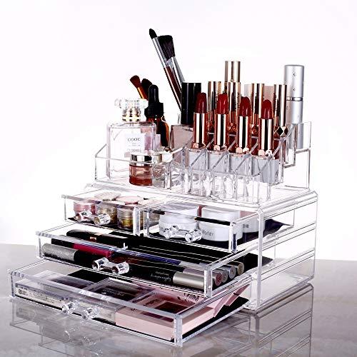 高透明度化粧品 収納 透明 メイクケース 化粧収納ケース 化粧品収納ボックス メイクボックス コスメ収納ボックス(L-24CM 小さいサイズ)