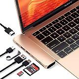 Satechi Type-C アルミニウム Proハブ Macbook Pro 13/15インチ対応 40Gbs Thunderbolt 3 4K HDMI Micro/SDカード USB 3.0ポート×2 マルチ USB ハブ (ゴールド)