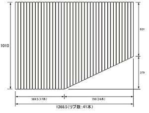 お風呂のふた パナソニック (松下電工 ナショナル) 風呂ふた 巻きふた  RL91041LC (RL91041Lの代替品) 1010×1368.5mm (リブ数 : 41本)