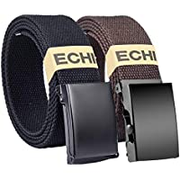 Men Canvas Web Belt for Women, ECHI Unisex Fabric Woven Braided Belts With with Flip-Top Solid Black Military Buckle