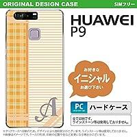 P9 スマホケース HUAWEI ケース ファーウェイ ピーナイン イニシャル チェック・ボーダー オレンジ nk-p9-1602ini S