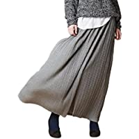 (シダーエイト)CedarEight ロングスカート レディース プリーツ スカート ロング マキシ 丈 サイズ フリー (グレー)