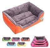 JOSS PET LAND 丸洗い出来る 犬 猫 ペット用 ベッド スクエア型 ソファ クッション 水洗い ふわふわ もこもこ (M オレンジ)
