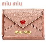 [セット品] 正規紙袋付き MIUMIU ミュウミュウ ミニ財布 財布 三つ折り財布 ピンク レッド 赤