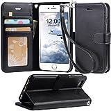 【Arae】iPhone6s ケース / iPhone6 ケース 手帳型「 スタンド機能 カードポッケト ストラップ」人気 おしゃれ 落下防止 衝撃吸収 財布型 おすすめ アイフォン6 / アイフォン6s 用 カバー ケース (ブラック)
