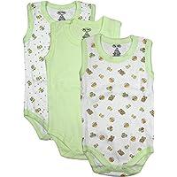 Big Oshi Unisex-Baby White Three Pack Sleeveless Bodysuit