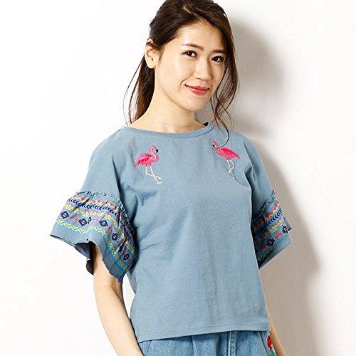 イーハイフンワールドギャラリー(E hyphen world gal 袖ワイドフレアワンポイント刺繍Tシャツ【154ブルー/F】