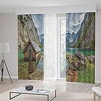 TecBillion ドアカーテン レイクハウス装飾 リビングルーム用 雲の上の川の風景 豊かな草 透明 空 曜日 157Wx83L Inches CL401_10_K400xG213_206620