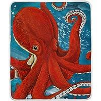 ブランケット 毛布 130 * 150cm シングル レトロ風 ポリエステル素材 たこ 赤い 海 暖かい ひざかけ 掛け毛布 タオルケット 寝具 洗濯可能 軽量 ソファー 装飾 インテリア雑貨 LAKIO