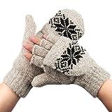 METOG カバ ミトン メンズ レディース ニット スマホ グローブ 指なし 通勤 通学 暖かい 冬小物 防寒手袋 [2 WAY] Beige