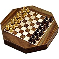Magnetic Octangle Shape Chess Pieces Set and Wooden Board Travel Games with Storage 9 Inches [並行輸入品]