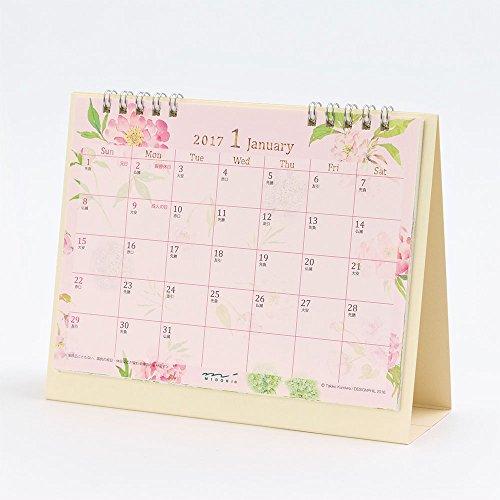 ミドリ 2017年 カレンダー 卓上 M リング カントリータイム 花柄 30083006