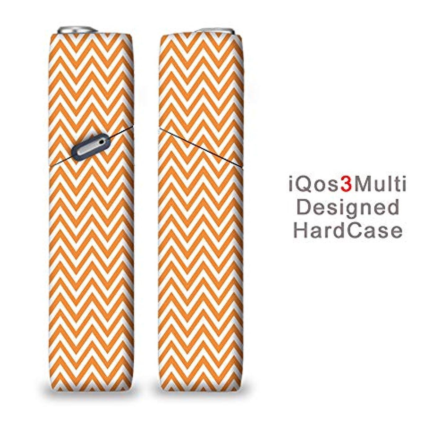 一月行方不明横完全国内受注生産 iQOS3マルチ用 アイコス3マルチ用 熱転写全面印刷 山型 オレンジ 加熱式タバコ 電子タバコ 禁煙サポート アクセサリー プラスティックケース ハードケース 日本製