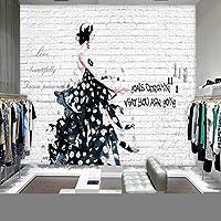 Mzznz カスタム壁画ヨーロッパ米国レンガ壁絵画手描きの美しい服店背景スタジオ壁画-350X250Cm