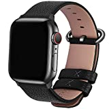 Fullmosa Leather Bands Compatible Apple Watch Band 42mm 44mm 38mm 40mm iWatch Band Series 5 4 3 2 1 for Men and Women, 42mm 44mm Space Grey + Gunmetal Buckle