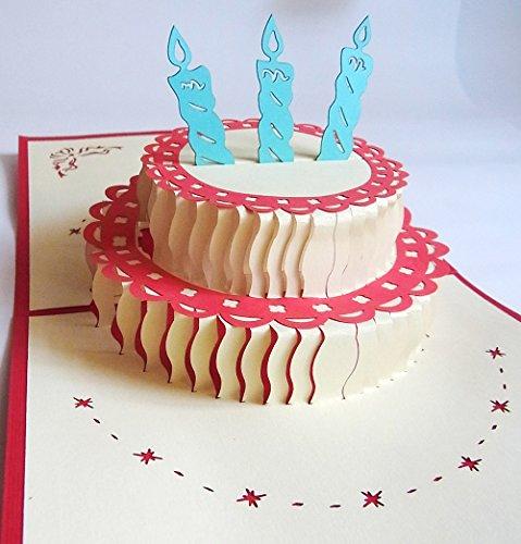 3D 立体 ポップアップ グリーティングカード 結婚祝い 誕生日 バレンタインデー ホワイトデー クリスマス ギフト おすすめ 飛び出す招待状 (バースデイケーキ)