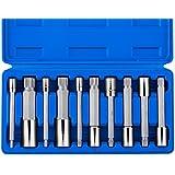 Neiko 10054A 4-Inch Extra Long XZN Triple Square Spline Bit Socket Set, S2 Steel | 10-Piece Set