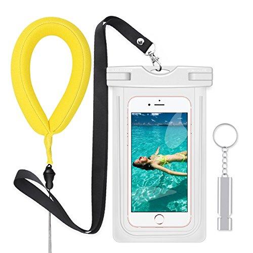 防水ケースセット【フローティングリストバンド、金属救援ホイッスル付属】PolySky 夜間発光スマホ用フォンケース・カバー IPX8認定 iPhone全部/Samsung Galaxy S8/S7 edge/SONY Xperia/HUAWEI など6インチ以下の機種対応な防水袋 お風呂 温泉 釣り 水泳などに最適な完全防水携帯ケース (白)