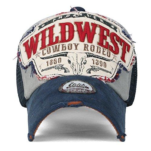 (イリリリー) ililily Wild West(ワイルドウェスト) ビンテージ ダメージ加工 スナップバック トラッカーハット ベイスボールキャップ , Prussian Blue