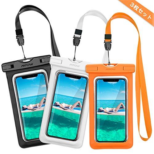 防水ケース 指紋認証 IPX8認定 タッチ可能 3点セット iPhoneX iPhone8 iPhone7 など対応 Mpow 海水浴 潜水 お風呂 温泉 水泳 砂浜 水遊び 水中撮影 iPhone Android 6インチ以下全機種対応 ネックストラップ付属 18ヶ月間国内保証 白 オレンジ 黒