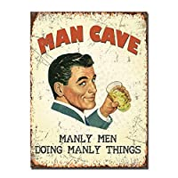 Man Cave 金属板ブリキ看板警告サイン注意サイン表示パネル情報サイン金属安全サイン