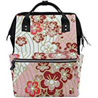 ママバッグ マザーズバッグ リュックサック ハンドバッグ 旅行用 ホワイトとピンク 桜柄 ファション