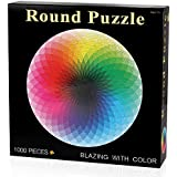 D-FantiX 1000ピース ジグソーパズル ラウンド パズル 虹色 大人 子供向けパズル ゲーム 玩具 組み立て 68×68cm