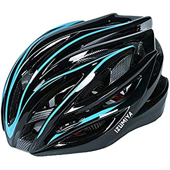 IZUMIYA 自転車 ヘルメット サイクリング 超軽量 高剛性 28孔 通気穴 ロードバイク クロスバイク サイズ調整可能 (ブルー)