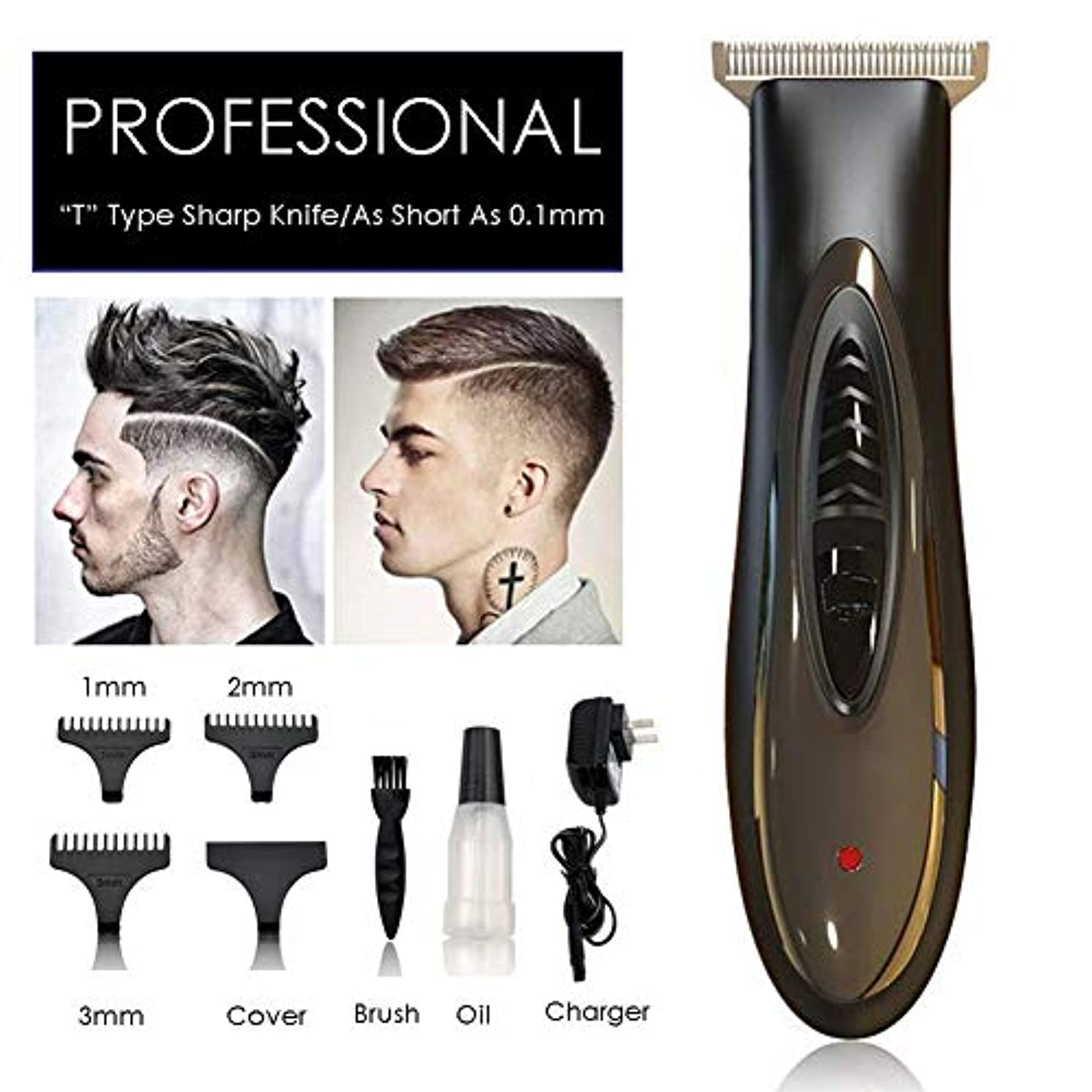 添加知る老朽化したバリカン0.1ミリメートルプロフェッショナル充電式のヘアトリマー髭剃り髪の男性のためのマシンエッジングサロン電気芝刈り機を切断
