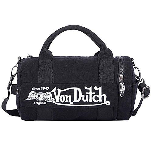 (ヴォンダッチ) Von Dutch バッグ BAG ボンダッチ ミニダッフル ボストンバッグ ショルダーバッグ 2way メンズ レディース ブランド 並行輸入品 ((von1201) ブラック×ホワイト)