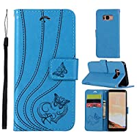 MGVV Samsung Galaxy S8 Wallet Case, [Butterfly Embossing] Folio Folding Wallet Case Flip Cover Protective Case with Card Slots and Kickstand for Samsung Galaxy S8 - Blue