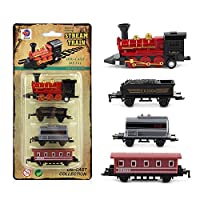 (style:red) - Qiyun Toy Cars 5pcs Children Alloy Simulation Steam Train Creative Mini Car Models Toys Gifts for Kidsstyle:red