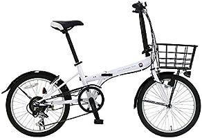 FIAT(フィアット) FDB206L ホワイト 20インチ 折りたたみ自転車 シマノ製6段変速ギア搭載 手元切り替えスイッチ式LEDライト装着 大型バスケット 後輪リング錠 前後泥除け付き 12222-1299