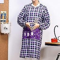 Genry 秋と冬の長袖のダブルポケット生地のオーバーオールシェフ大人のエプロン (Color : Purple)