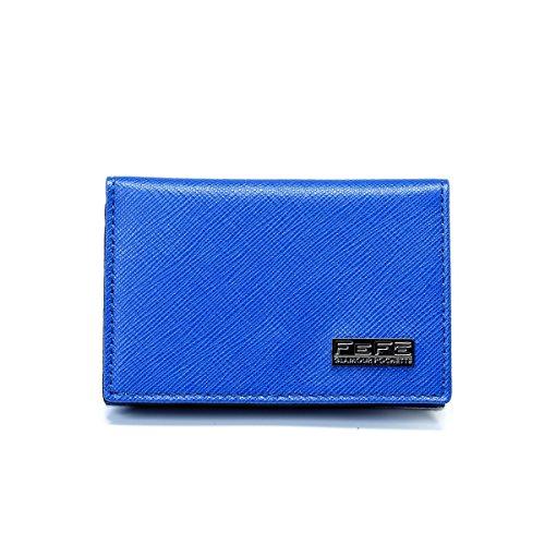 [フェフェ] FEFE 革小物 レザープリント カードケース イタリア製 ブルー