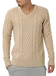 JIGGYS SHOP (ジギーズショップ) ニット セーター メンズ Vネック ケーブル編み 厚手 長袖 防寒 ボーダー アメカジ