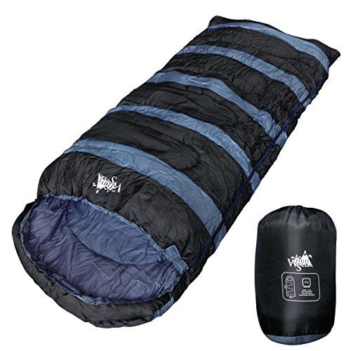 WhiteSeek BIGサイズ 寝袋 シュラフ 封筒型 【最低使用温度7℃ 1300g】 (ブラック)