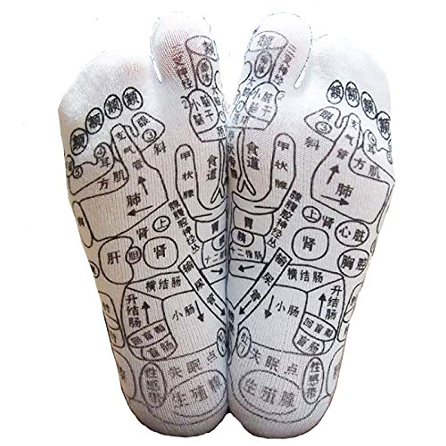 辞書乗算潤滑する足っほ靴下 足裏つぼ靴下 足ツボソックス 反射区 プリント くつした ツボ押しやすい 22~26センチ 字は中国語