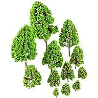 12個 モデルツリー ジオラマ 模型 木 森 材料 キット グリーン プラスチック 樹木 モデルツリー 鉄道 建物 箱庭 風景 情景コレクションザ 教育 写真 2.5cm - 16cm