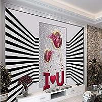 Wuyyii 大カスタム壁紙クリエイティブファッション白黒ストライプステレオスペースジュエリー装飾壁の背景 - 450×300センチ