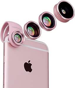 MOMAX 4in1スマホレンズ 4点セット【魚眼レンズ +マクロレンズ + 広角レンズ +偏光レンズ 】セルカレンズ 自撮りレンズiPhoneX/iPhone8Plus/ iPhone8/iPhone 7/ iPhone 6S/6plusタブレットPCなど全機種対応 (4in1ローズゴールド)