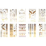 Xcellent Global Premium Metallic Temporary Tattoos 10 Sheet Shimmer, Shiny Gold & Silver for Necklaces Bracelets Arm Band and Ankle BT012