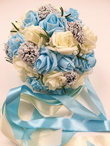 ウェディング ブーケ 結婚式 ブライダル フラワー パール付き 選べる カラー 6種類 (06 ブルー&ホワイト)