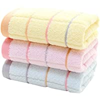 Zhhlinyuan タオル 3 Pieces Absorbent and Quick Dry Bath Towels Facecloth Premium Quality Cotton Bath Towels Set (3Color)