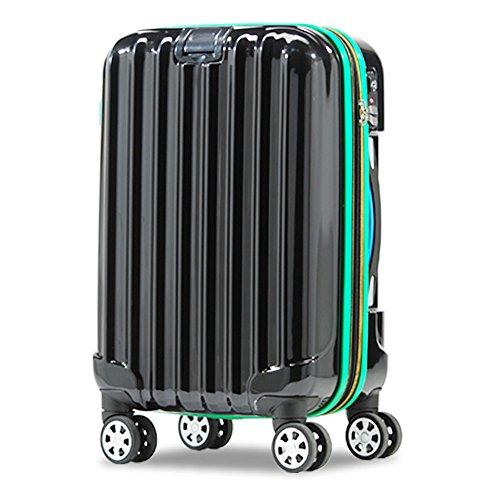 スーツケース 超軽量 小型 中型 w キャスター 4輪 TSA s m キャリーケース キャリーバッグ カラフル (Sサイズ(1〜3泊用/33L〜37L), BLACK)