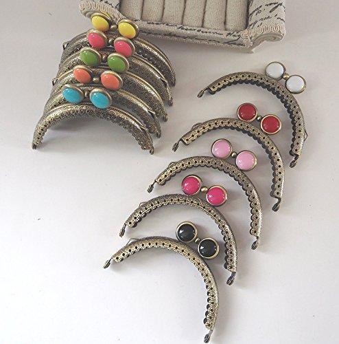 がま口 アンティーク 風 マーブルチョコ 風 パーツ くし型 口金 セット 10色 選べる 材料 手芸材料 ハンドメイド (アンティークゴールド8.5cm10色10個)