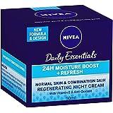 NIVEA Daily Essentials Refreshing Regenerating Night Cream +24 Hour Moisturising Boost, 50ml