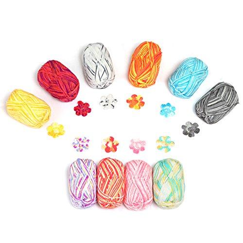 LIHAO アクリル毛糸 段染タイプ 並太 50g±2g玉巻(約160m) 全10色 棒針キャップ かぎ針 段数マーカー付き