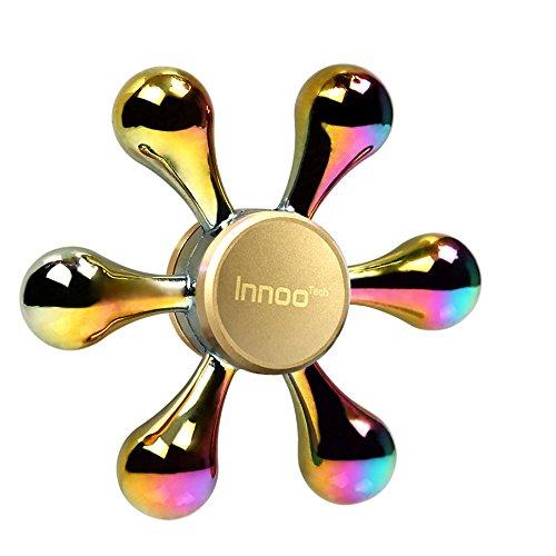 ハンドスピナー 指スピナー Innoo Tech Hand spinner 高速回転 亜鉛合金製 水道 虹色 6枚翼 3-5分回転可 ストレス解消 暇つぶし 大人気おもちゃ 大人子供に適用玩具