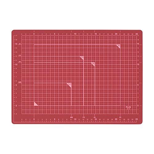 プラス カッターマット 両面 A4 230×320mm レッド 48-572